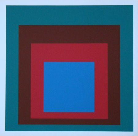 Serigrafía Albers - Homage to the Square - Protected Blue, 1957