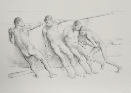 Litografía Zuniga - Hombres con Barca I