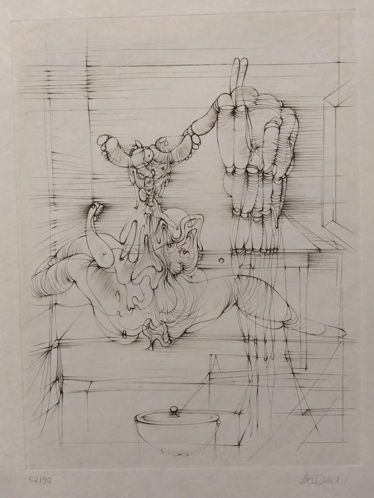Litografía Bellmer - Hommage a Picasso