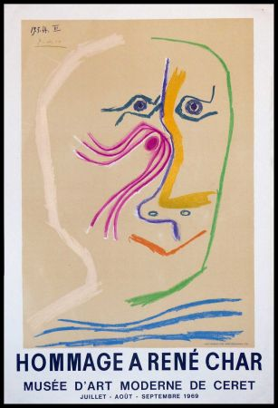Litografía Picasso - HOMMAGE A RENE CHAR MUSEE CERET