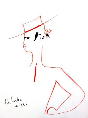 Litografía Cocteau - Homme au Chapeau