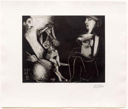 Aguatinta Picasso - Homme avec Deux Femmes Nues