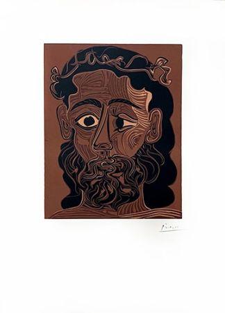 Linograbado Picasso - Homme barbu couronné de vignes