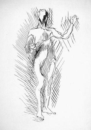 Aguafuerte Villon - Homme debout