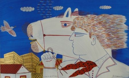 Litografía Fassianos - Homme et cheval