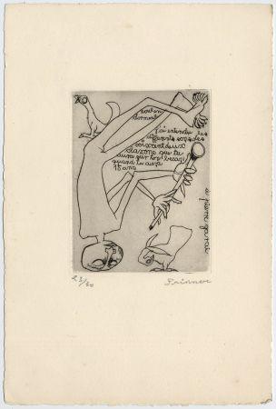 Aguafuerte Prinner - Homme jouant du pipeau (1938)
