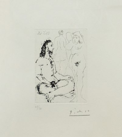 Grabado Picasso - HOMME NU ASSIS EN TAILLEUR (BLOCH 1600)