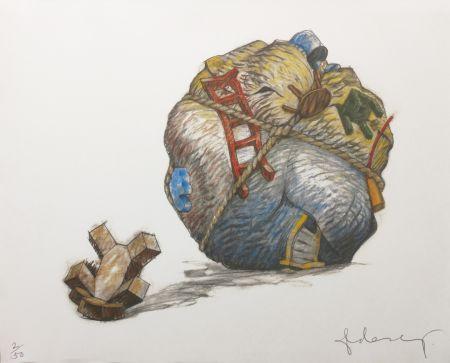 Serigrafía Oldenburg - HOUSEBALL WITH FALLEN TOY BEAR