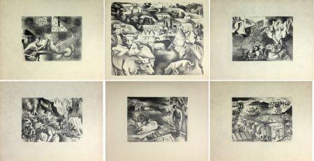 Litografía Lhote - HUIT LITHOGRAPHIES POUR L'OR DE BLAISE CENDRARS (1938).