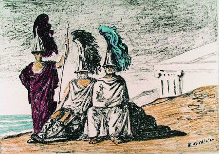 Litografía De Chirico - I guerrieri di ritorno da Troia