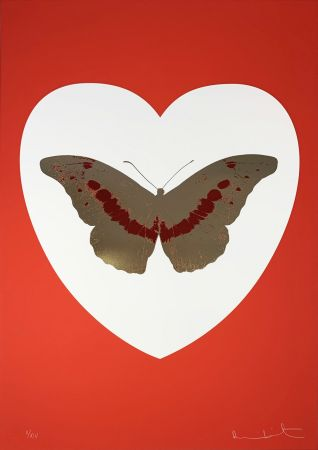 Serigrafía Hirst - I Love You - White/Red/Cool Gold/Poppy Red