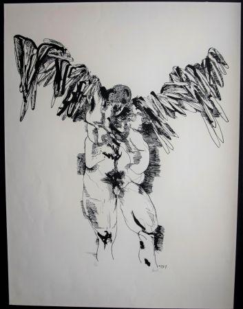 Litografía Baskin - Icarus