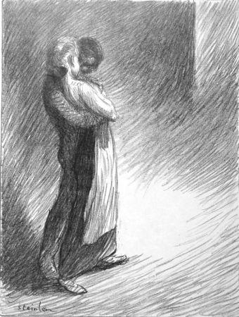 Litografía Steinlen - Il bacio