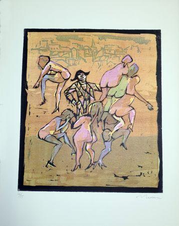 Linograbado Maccari - Il balletto