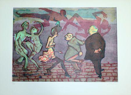 Linograbado Maccari - Il ballo
