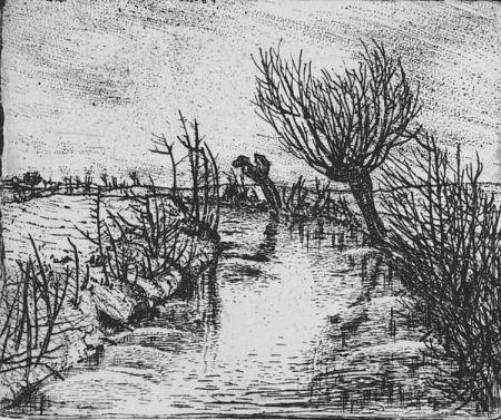 Aguafuerte Bozzetti - Il canale d'inverno