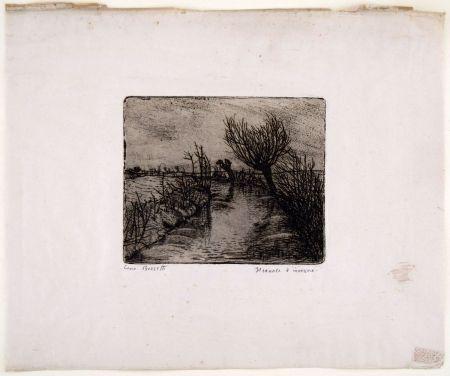 Grabado Bozzetti - IL CANALE D'INVERNO (The canal in winter)