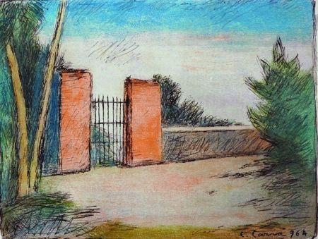 Litografía Carra - Il cancello