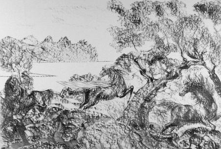 Litografía Sassu - Il cavaliere con l'elmo