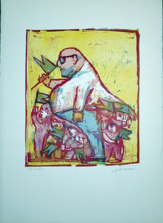 Linograbado Maccari - Il Commendatore