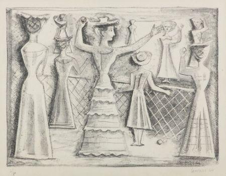 Litografía Campigli - Il gioco della palla
