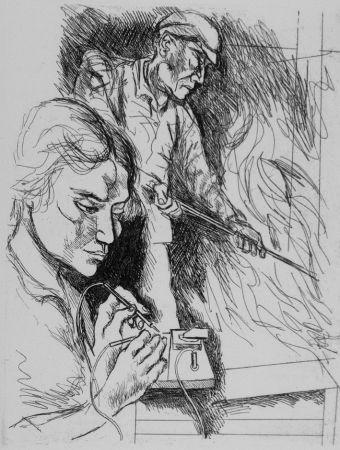 Aguafuerte Guttuso - Il lavoro II