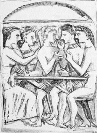 Litografía Campigli - Il pasto