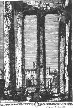 Aguafuerte Disertori - Il pronao del tempio di Antonino e Faustina