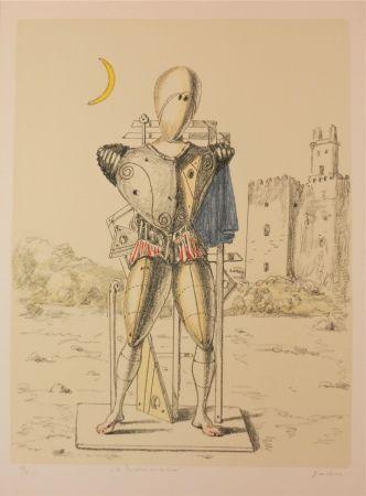 Litografía De Chirico - Il trovatore con la luna