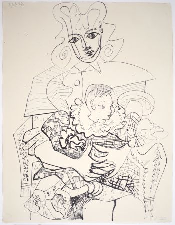 Litografía Picasso - Ines Et Son Enfant