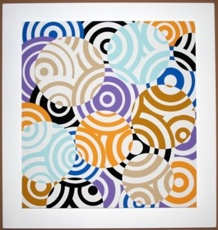 Grabado En Madera Asis - Interferences cercles de couleurs