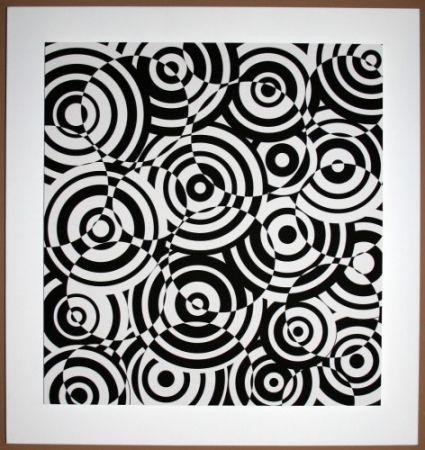 Grabado En Madera Asis - Interferences cercles noir et blanc