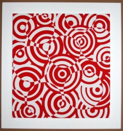 Grabado En Madera Asis - Interferences cercles rouge et blanc