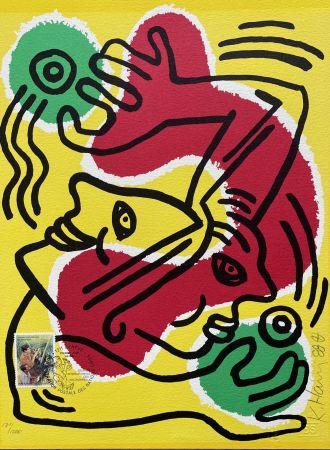 Litografía Haring - : International Volunteer Day 1988 - RARE VARIENT