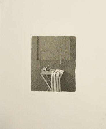 Aguafuerte Ferroni - Interno con corda appesa
