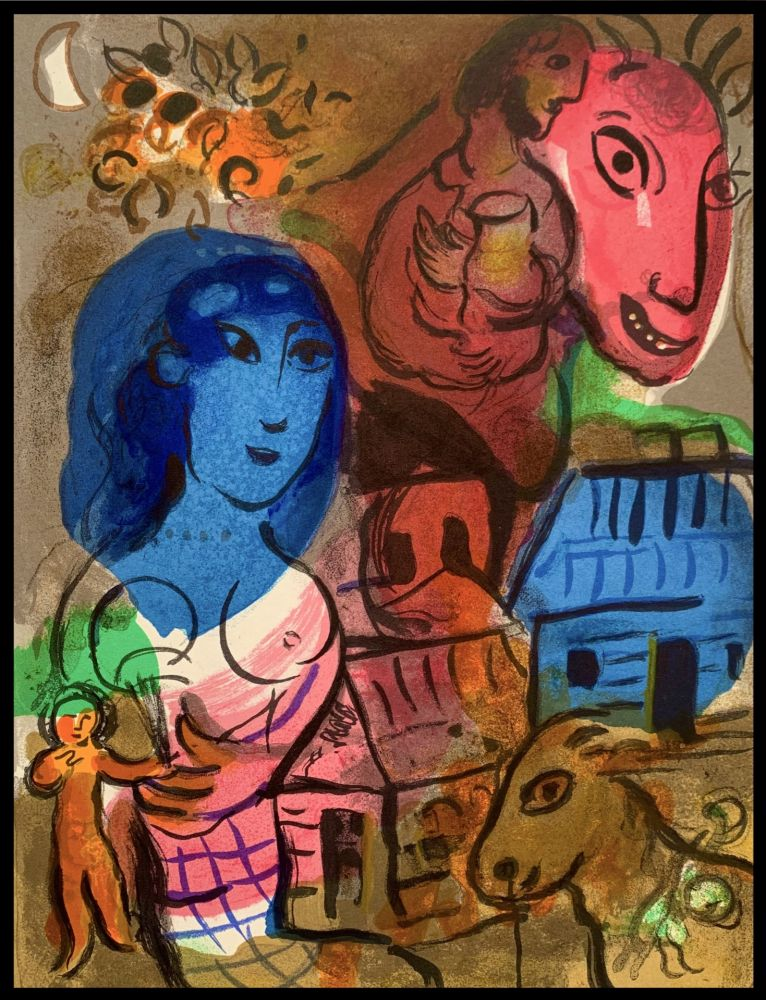Litografía Chagall - Intimité - Hommage à Marc Chagall