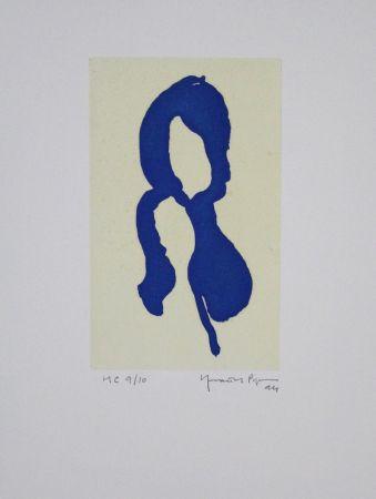Aguatinta Hernandez Pijuan - Iris blau I / Blue Iris I