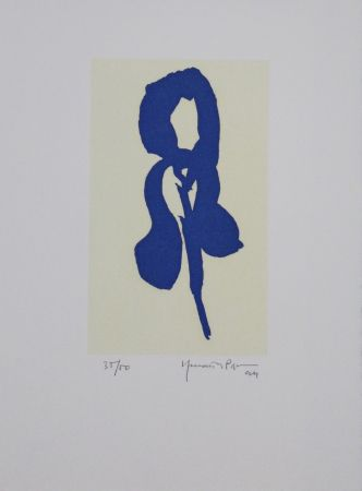 Aguatinta Hernandez Pijuan - Iris blau IV / Blue Iris IV