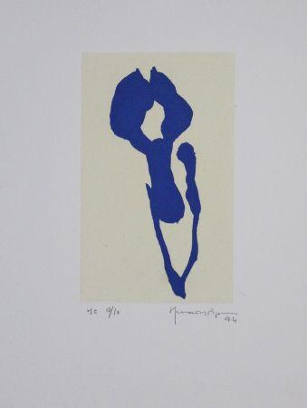 Aguatinta Hernandez Pijuan - Iris blau IX / Blue Iris IX