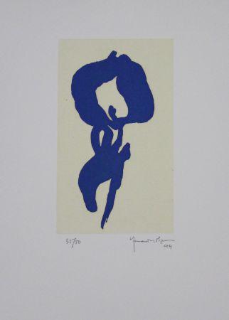 Aguatinta Hernandez Pijuan - Iris Blau V / Blue Iris V