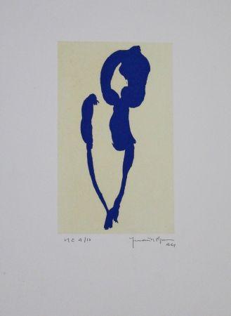Aguatinta Hernandez Pijuan - Iris blau VII / Blue Iris VII