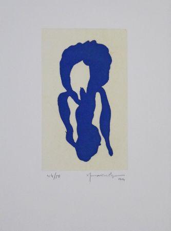 Aguatinta Hernandez Pijuan - Iris blau X / Blue Iris X