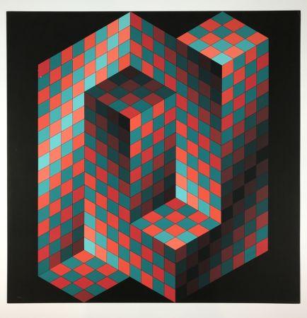 Litografía Vasarely - Izzo-Rouge-Vert