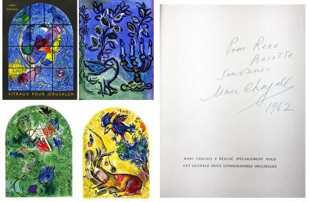 Libro Ilustrado Chagall - J. Leymarie : VITRAUX POUR JÉRUSALEM. DÉDICACÉ ET SIGNÉ PAR MARC CHAGALL. 1962.