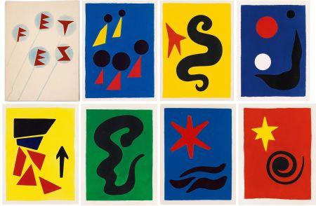Libro Ilustrado Calder - J. Prévert : FÊTES. 7 aquatintes originales de Calder (1971)
