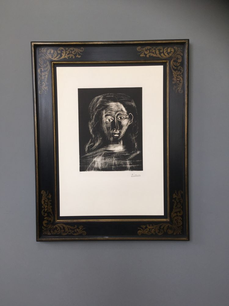 Linograbado Picasso -  Jacqueline aux chevaux flous, en buste