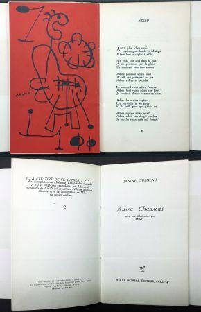Libro Ilustrado Miró - Janine Queneau : ADIEU CHANSONS. Avec une illustration par Miro (1951).