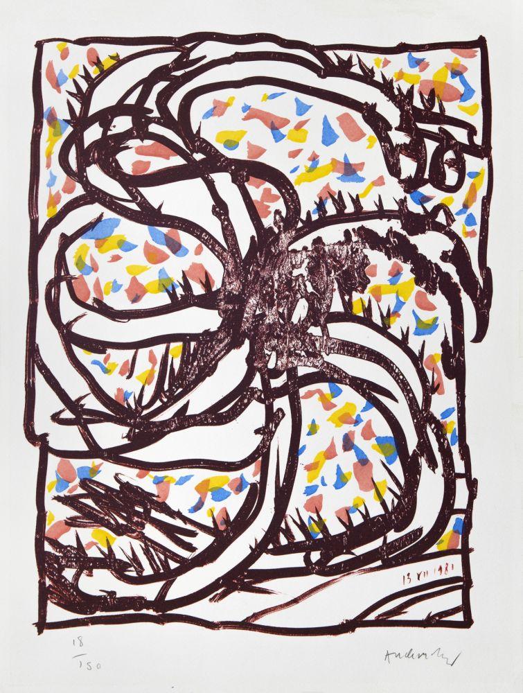 Litografía Alechinsky - Jantes et jambes