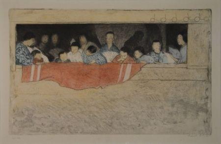 Aguafuerte Orlik - Japanische Kinder als Zuschauer bei einem Umzug