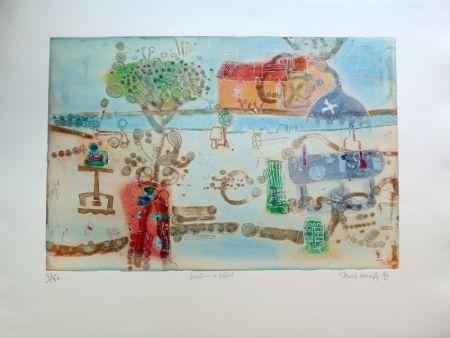 Grabado Hasegawa - Jardin d'artiste
